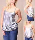 Womens Ladies Shiny Metallics Cami Thin Strap Sleeveless Baggy Swing Flared Top