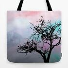 Tote bag All over print Design 32 Tree Silhouette pink art painting L.Dumas