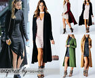 Women Ladies Open Front Long Sleeve Long line Maxi Tailored Jacket Cardigan 8-14