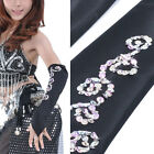 C136 a Pair Belly dance Arm warmers with silver Sequins Oriental Dance
