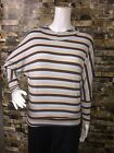 Womens Casual Blue Brown Striped Shirt Long Sleeve Hooded Pullover Hoodie