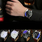 Fashion Mens Leather Stainless Steel Military Sport Casual Quartz Wrist Watch_US