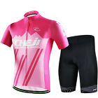 CHEJI Mens Cycling Short Set Pink Cycling Jersey and (Bib) Shorts Kit Reflective