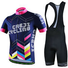 CHEJI Mens Cycle Jersey Padded Shorts/Bibs Reflective Cycling Kit Color Geometry