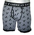 "NWT AMERICAN EAGLE OUTFITTERS MENS ICONIC EAGLES 6"" CLASSIC TRUNK GRAY BOXERS"