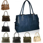 Ladies Faux Leather Shoulder Handbag Work Women Hobo Twin Handle 3 Compartments