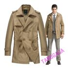 Fashion Mens Double Breasted Casual Lapel British Trench Coat Jacket Peacoat New