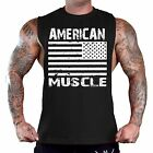 Men's American Muscle Black T-Shirt Tank Top Gym Workout Fitness Athletic Flag