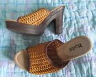 NEW Synthetic Weaved TAN open toe wood look open toe sandals/mules, MUDD 7M 10M