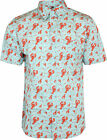 Run & Fly Mens Lobster Print Short Sleeved Shirt Vintage Retro Indie 80s