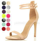 WOMENS LADIES ANKLE STRAP HIGH HEEL BUCKLE BARELY THERE PARTY SANDALS SHOES SIZE