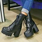 Womens Black Platform Lace Up Block High Heels Ankle Boots Shoes Size US4.5-US11
