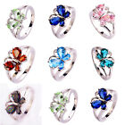 Butterfly Design Pink Sapphire Green Blue Topaz Gemstone Silver Cocktail Ring
