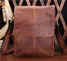 New Fashion Men's Vintage Genuine Real Cow Leather Shoulder Bag Size S Brown