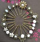 Pearl Hair Pin Grip Clips Slides Bobby Vintage Accessories Beads Rose Bronze