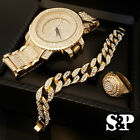 MEN HIP HOP ICED OUT CZ GOLD WATCH & STAINLESS STEEL RING & BRACELET COMBO SET image
