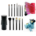 Professional 12pcs Cosmetic Makeup Tool Brushes + Cup Holder Cases Sponge Puff