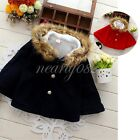 Toddler Girl Kid Baby Cloak Wind Outerwear Jacket Poncho Faux Fur Wool Outfits