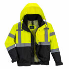 Hi-Vis Bomber Rain Jacket 3 Jackets in 1 Reflective Work Safety Portwest US365