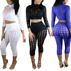 Sexy Women's Checks Bandage Bodycon Top Trousers Set Party Club Jumpsuit Rompers