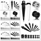 Ear Stretching Flesh Tunnel Taper Expander White Black Silver Steel Earring Set