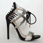 Black Caged Ankle Cuff Lace-Up Stiletto High Heels Snake Open Toe Sandals