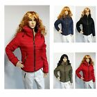 Womens Ladies Quilted Padded Puffer Bubble Thick Warm Jacket Black Red Blue Gre