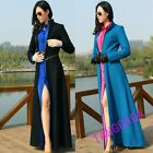 Fashion Womens Casual Slim Fit Detachable Super Long Trench Coat Wool Blend Chic