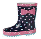Infants Girls Kids Cute New Navy Pink Wellington Polka Dot Boots Bow  UK 4 - 2