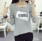 Autumn Girl Striped Student 9/10 Sleeve Casual Slim Cotton Shirt Tops Blouse A +