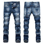 New Mens Italy Style Distressed Scratches *Slim Pants Blue JEANS Trousers D1465T