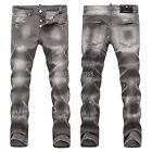 New Mens Italy Style Distressed *Scratches Slim Pants Grey JEANS Trousers D1466T