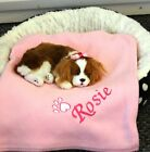 PERSONALISED DOG BLANKET WITH YOUR DOGS NAME LOTS OF COLOURS. PUPPY BLANKET.