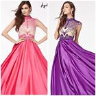 ANGELA  AND ALISON 61023 FUCHSIA SHORT SLEEVE EMBLISHED  BALLGOWN $699 SZ 0,2,4