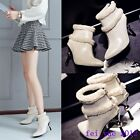 Womens Winter Fur Trim Stiletto Pointy Toe Back Zip Casual Ankle Boots Plus Size
