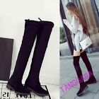 Sexy Ladies Stretch Over the Knee Boots Block Womens Faux Suede Soft Shoes Chic