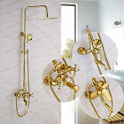 Bathroom Rainfall Golden Shower Faucet Set Bathtub Shower Mixer W/ Hand Sprayer