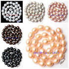 """10x12mm Natural Oval Shape Freshwater Pearl Gemstone Loose Beads Strand 15"""""""