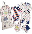 5 Piece Cute Baby Boys 100% Cotton All in One Newborn Gift Set by Nursery Time