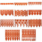 """5/8"""" to 5-1/8"""" Wide Orange Floral Embroidered Venice Lace Guipure Trim by Yard"""