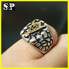 MENS ICED OUT HIP HOP RAPPERS MASONIC FREEMASON TWO TONE STAINLESS STEEL RING