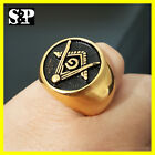 NEW MENS ICED OUT GOLD PT HIP HOP RAPPERS MASONIC FREEMASON STAINLESS STEEL RING