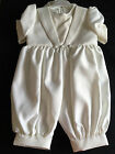 BABY BOYS IVORY CREAM CHRISTENING ROMPER WITH CAP OUTFIT SUIT BAPTISM SET