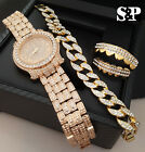 MEN HIP HOP ICED OUT LAB DIAMOND WATCH & CUBAN BRACELET & GRILLZ COMBO GIFT SET  image