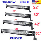 "Tri-row 22inch/32inch/42""/50""/52"" 4"" 18W Curved LED Light Bar Combo Offroad 4WD"