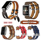 New Genuine Leather Double Buckle Cuff Watch band Strap For Apple iWatch 38/42MM