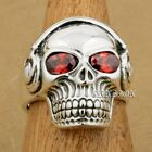 Red CZ Eyes 925 Sterling Silver DJ Skull Studio Music Headphone Mens Ring 8Y211A
