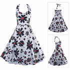 Women Vintage Bodycon Floral Print Halter Cotton Swing Housewife Party Dress