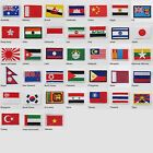 ASIA, AUSTRALIA & OCEANIA Country Flags TINY Iron-On Cloth Patch Badge UK SELLER