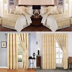 Jacquard, Luxury 7 Piece (CREAM) Comforter Set,Bedspread With Matching Curtains